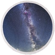 Milky Way Over The Columbia Icefields Round Beach Towel