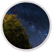 Milky Way Over The Forest At The Troodos Mountains In Cyprus. Round Beach Towel