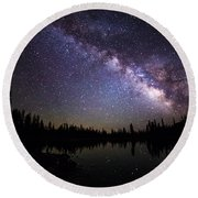 Milky Way Over The Lake Round Beach Towel