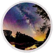 Milky Way Over The Saco River Maine  Round Beach Towel