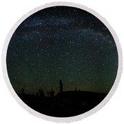 Milky Way Panorama Round Beach Towel