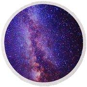 Milky Way Splendor Vertical Take Round Beach Towel