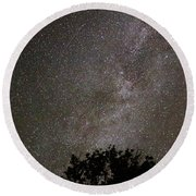 Milky Way With Perseid Meteor Round Beach Towel