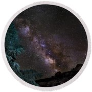 Milkyway At The Mountains Round Beach Towel