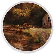 Mill - The Village Edge Round Beach Towel by Mike Savad