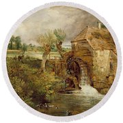 Mill At Gillingham - Dorset Round Beach Towel by John Constable