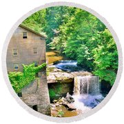Mill Creek Park Lanterman's Mill And Covered Bridge Round Beach Towel