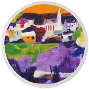 Mill Pond In Summer Round Beach Towel