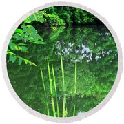 Mill Pond Reflections Round Beach Towel