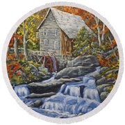 Mill Scene 03 Round Beach Towel