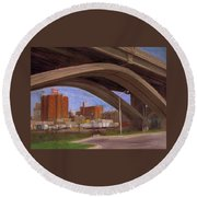 Miller Brewery Viewed Under Bridge Round Beach Towel