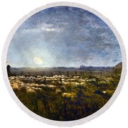Millet: Sheep By Moonlight Round Beach Towel