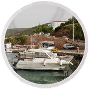 Milos On Agistri Island Round Beach Towel