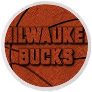 Milwaukee Bucks Leather Art Round Beach Towel
