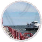 Milwaukee Harbor And Boat Round Beach Towel