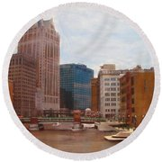 Milwaukee River View Round Beach Towel
