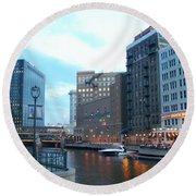 Milwaukee River Walk Round Beach Towel