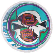 Mimbres Inspired #3a Round Beach Towel