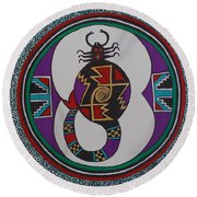 Mimbres Inspired #8a Round Beach Towel