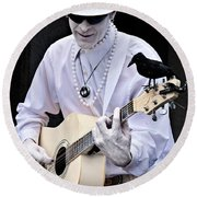 Mime And Guitar Round Beach Towel