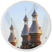 Minarets Over Tampa Round Beach Towel by David Lee Thompson