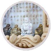 Minature Buddhas Round Beach Towel