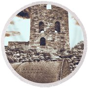 Mine Ruins Round Beach Towel