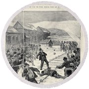 Miner Strike, 1888 Round Beach Towel