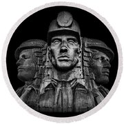 Miners In The Dark Round Beach Towel