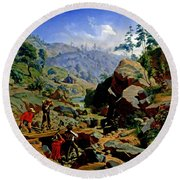 Miners In The Sierras Round Beach Towel