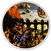 Minerva Chasing The Vices From The Garden Of Virtue 1502 Round Beach Towel