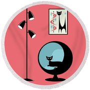 Shower Curtain Mini Atomic Cat On Pink  Round Beach Towel