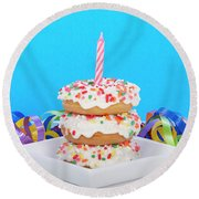 Mini Donut Cake With  Blue Candle By Sheila Fitzgerald Mini Donut Cake With Pink Candle Round Beach Towel