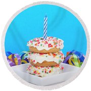 Mini Donut Cake With  Blue Candle Round Beach Towel