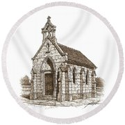 Miniature Church Of Froberville Round Beach Towel