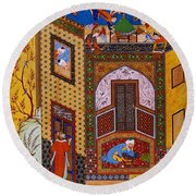 Miniature From Rose Garden Of The Pious Round Beach Towel