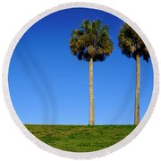Minimal Palm Trees On A Hill In Saint Augustine Florida Round Beach Towel