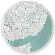 Minimalist Artistic Map Of Lisbon, Portugal 3 Round Beach Towel