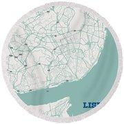 Minimalist Artistic Map Of Lisbon, Portugal 3a Round Beach Towel