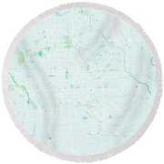 Minimalist Modern Map Of Beijing, China 3 Round Beach Towel