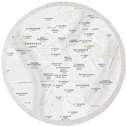 Minimalist Modern Map Of Downtown Damascus, Syria 2 Round Beach Towel
