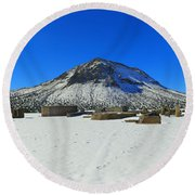 Mining Ruins Foreground A Snowy Mountain Round Beach Towel