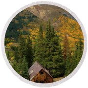 Mining Shack Round Beach Towel