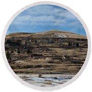 Mining Town Panorama Round Beach Towel by Angus Hooper Iii