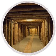 Mining Tunnel Round Beach Towel