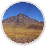 Miniques Volcano And High Altitude Desert Chile Round Beach Towel