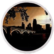 Minneapolis Skyline In Copper Round Beach Towel
