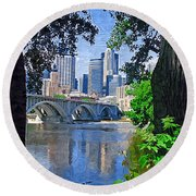 Minneapolis Through The Trees Round Beach Towel