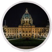 Minnesota Capital At Night Round Beach Towel