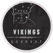 Minnesota Vikings Art - Nfl Football Wall Print Round Beach Towel
